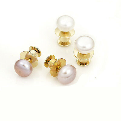 Cute White / Purple Natural Pearl Pin Brooch Sweater Scarf Safety Golden Brooch
