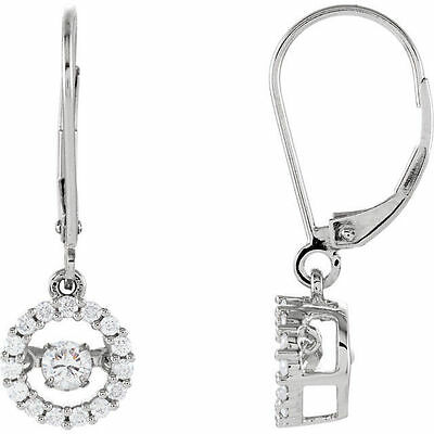 Genuine 1/2 ct tw Diamonds Leverback Dangles Halo Earrings 14K. Solid White Gold
