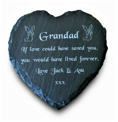 Personalised Engraved Slate Stone Heart Memorial Grave Marker Plaque Custom Made