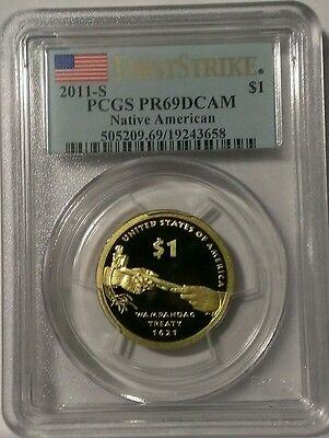"2011-S Proof Sacagawe Native American Golden Dollar PCGS PR69DCAM ""First Strike"""
