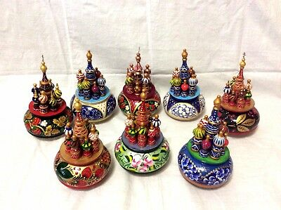 """NEW 8"""" Tall Hand Painted Russian Music Box St. Basil's Cathedral Kremlin"""