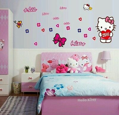 Adesivi Murali Hello Kitty Cartoon Stickers Animali Bambini Decoro Cameretta
