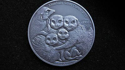 2013 Congo 1000 Francs Meerkats Silver Antique Finish Coin