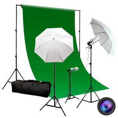 "3-Point Continuous Umbrella Lighting Kit w/ Backdrop Kit ""Yellow Lighting"""