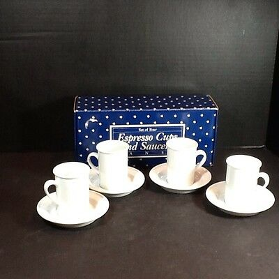 Beautiful Set Of Four Dansk Expresso Cups And Saucers
