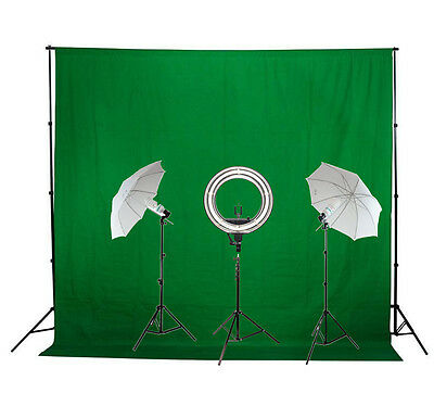 18inch Diva Ring Light + Photo/Video Umbrella Lighting Kit + Green Backdrop Kit