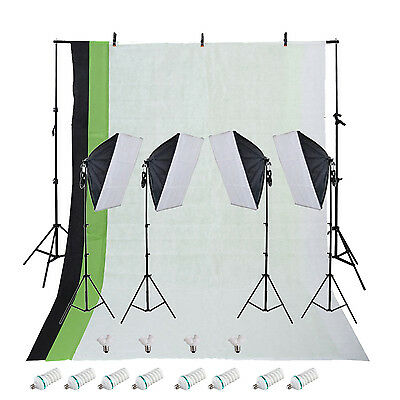1800w Photo Video Continuous 4pc Softbox Lighting Kit w/ 3pc Backdrop Kit