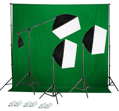 1350w 3-Point Continuous Softbox Lighting Kit w/ 1pc Green Backdrop Kit