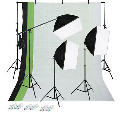 1350w 3-Point Continuous Softbox Lighting Kit w/ 3pc Backdrop Kit