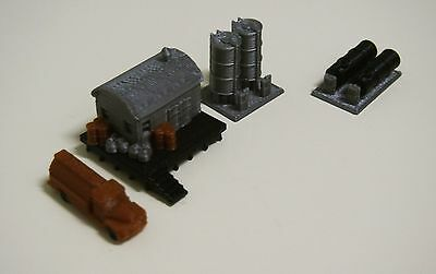 Outland Models Railway Miniature Fuel / Gas Tank Set with Office & Truck Z Scale