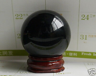 HOT 40MM +Stand Natural Black Obsidian Sphere Large Crystal Ball Healing Stone