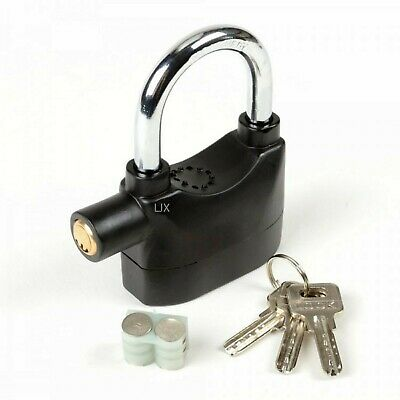 2pc - High Security Short Shackle Padlock w/ Anti Theft 110dB Siren Alarm