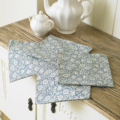 William Morris Mallow Blue Pack of 4 Floral Cotton Napkins