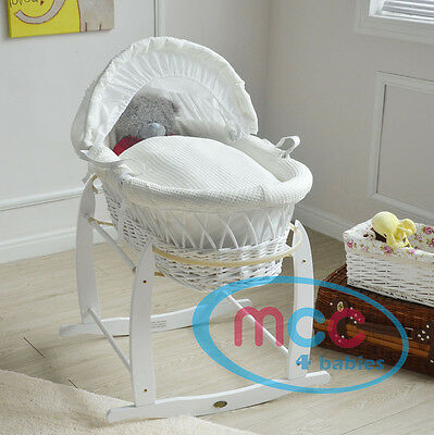 Full Set Wicker Moses Basket With Mattress Cotton Bedding set & Rocking Stand