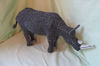 "Gorgeous Large 25"" Beaded Metal Wire Rhinoceros Rhino Statue Figurine Gray/White"