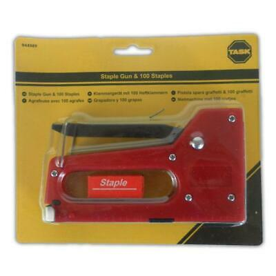 Task Staple Gun & 100 Staples - Upholstery Tacker Stapler Steel Craft Home Work