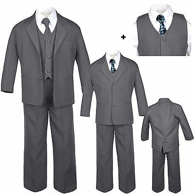 Boy Baby Toddler Kid Teen Formal Wedding Dark Grey Tuxedo Suits Checker Tie S-20