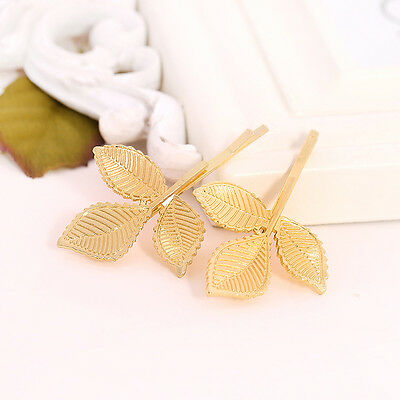2PCS Gold Leaf Hair Cuff Clip Jewelry Hairpin Womens Accessories NEW Xmas Gift