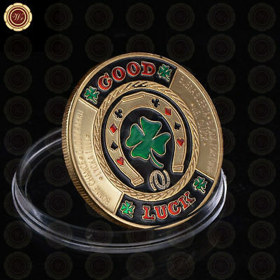 Las Vegas Good Luck Horseshoe / Shamrock Poker Coin Chip Card Guard Protector
