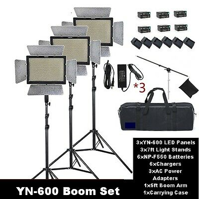 GTAPhotoStudio Yongnuo YN-600 LED 3-Pack Boom Light Kit - Battery and Charger