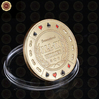 ALL-IN Winner Poker Guard Card Cover Protector Chip Casino Coin Plated With Gold