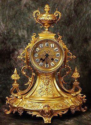 Beautiful French Antique Gilt Solid Heavy Bronze Clock C.19Th