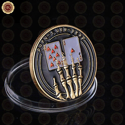 Skeletal Hand Poker Card Guard Cover Protector Casino Token Coin 24k Gold Plated