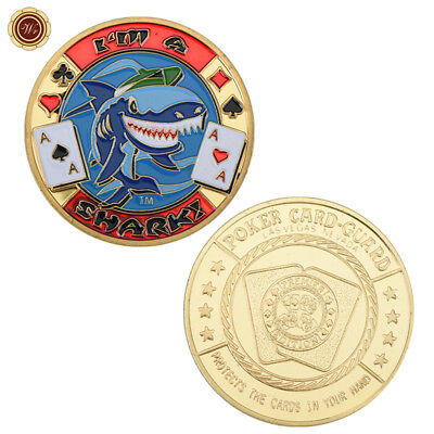 WR GIFT - I'm A Shark - Poker Card Guard Protector Cover Gold Coin Collectible