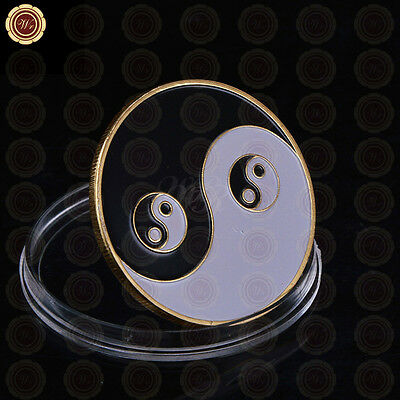 Yin Yang Tai Chi Eight Diagrams - Poker Card Guard 24k Gold Foil Plated Coin