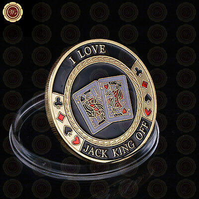 WR Poker Card-Guard Chip - I Love Jack King Off - Gold Casino Collectible Coins