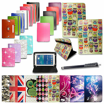 UNIVERSAL LEATHER STAND CASE COVER FOR VARIOUS ALCATEL Tablets PC + Free Stylus