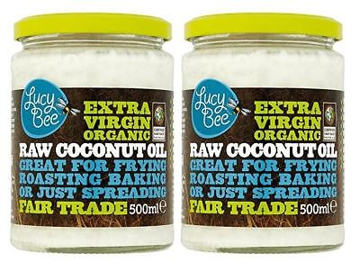 Lucy Bee Extra Virgin Raw Organic Coconut Oil - 500ml (Pack of 2)