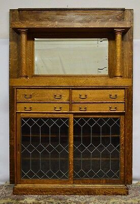 Antique Quartersawn Tiger Oak Leaded Glass Mantel Bookcase w. Mirror
