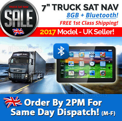 BLUETOOTH Truck Sat Nav 2017 MAPS! 7 Inch GPS For Truck, Lorry, HGV, LGV