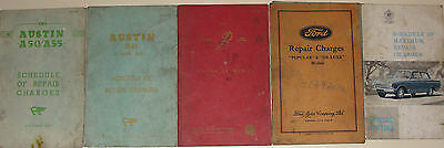 Job Lot Of 6 Ford/austin/consul Repair Charges Books Vintage Cars 1950/60