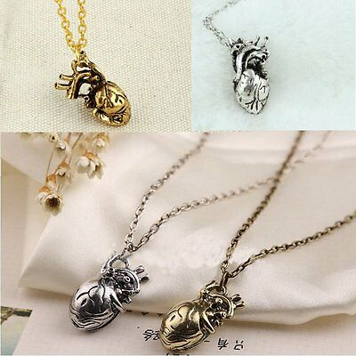 Punk Gothic Retro Anatomical Human Hollow Heart Sweater Chain Pendant Necklace