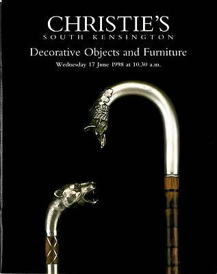 Christie S Auction Catalog Decorative Objects Furniture June 1998 London