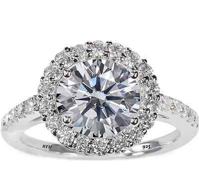 3.3ct 925 Silver Ladies Round Cut Halo Wedding Engagement Bridal Ring