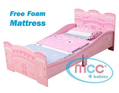 "MCC® Girls Pink Castle Princess Junior Toddler Kids Bed & 3"" Mattress Made in UK"