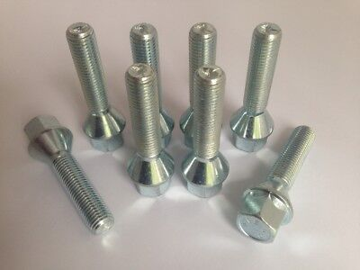 M12 x 1.25, 42mm extended thread, tapered seat alloy wheel bolts. Set of 8
