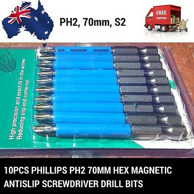 *NEW*10pcs Phillips PH2 70mm Hex Magnetic Antislip screwdriver Drill bits Comeou