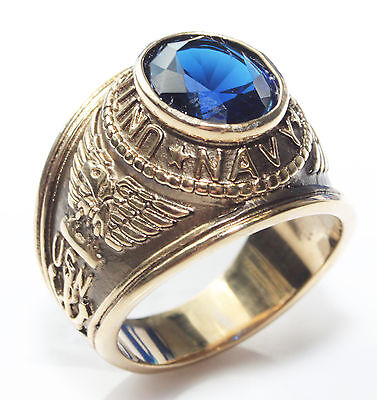 Men's Gold Over Stainless Steel Royal Blue LAB Diamond US Navy Ring. Stamped 316