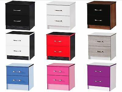 Pair of High Gloss Bedside Cabinets with 2 Drawers - Marina Bedroom Furniture