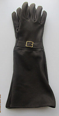 Men's Black Deerskin Leather Dress Gauntlet Gloves With Buckle - Made In The Usa