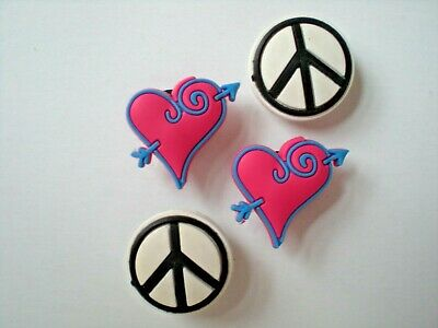 Peace Sign Heart Clog Shoe Charm Fit WristBand Plug Fit Accessory