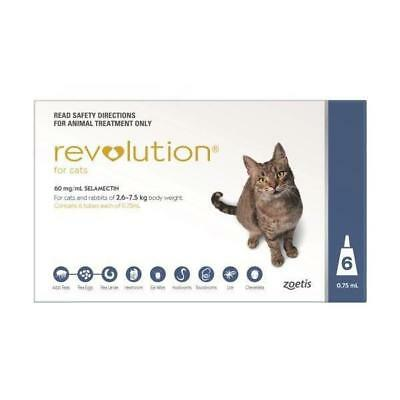 Revolution for Cats 6 Pack Blue monthly heartworm and worming