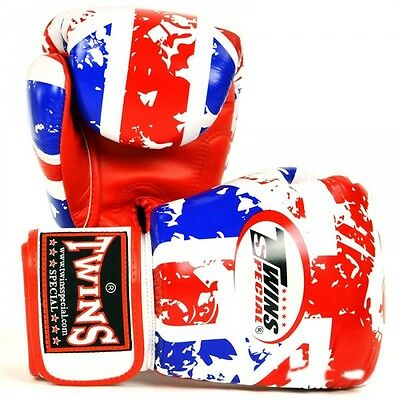 TWINS SPECIAL MUAY THAI BOXING GLOVES UK FLAG 8oz 10oz 12oz 14oz 16oz