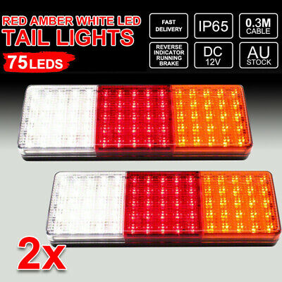2X 12V 75 LED Tail Lights Ute Trailer Caravan Truck Boat Stop Reverse Indicator