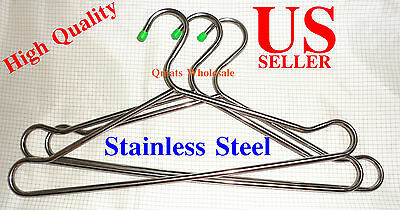 Lot Of 12pcs Heavy Duty Stainless Steel Clothes or Coat Hangers Hanging 16""