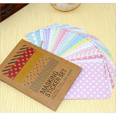 27PCS Washi Scrapbook Masking Stickers Tape Craft Pack Decorative Labelling